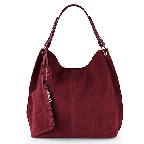 Nico Louise Women Genuine Suede Leather Large Hobo Purse Shoulder Bag (Burgundy)