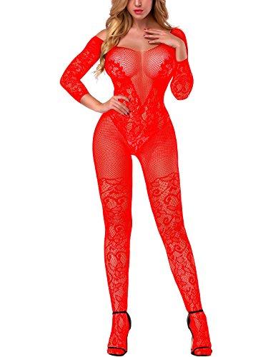 lus Size Fishnet Bodystocking Teddy Lingerie Babydoll Bodysuits Red (Red Long Sleeve Teddy)