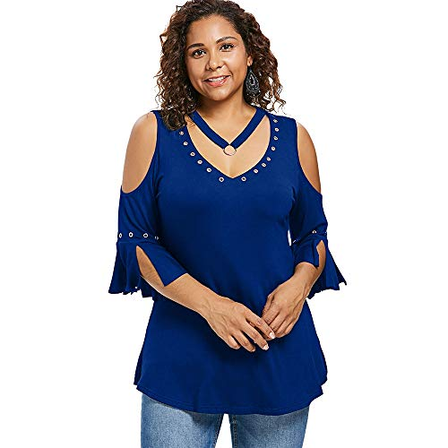 KCatsy Plus Size V Neck Split Sleeve T-Shirt Cobalt Blue ()
