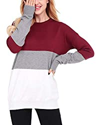 Uniboutique Womens Cashmere Sweater Pullover Plus Size Casual Jumpers Wine Red S