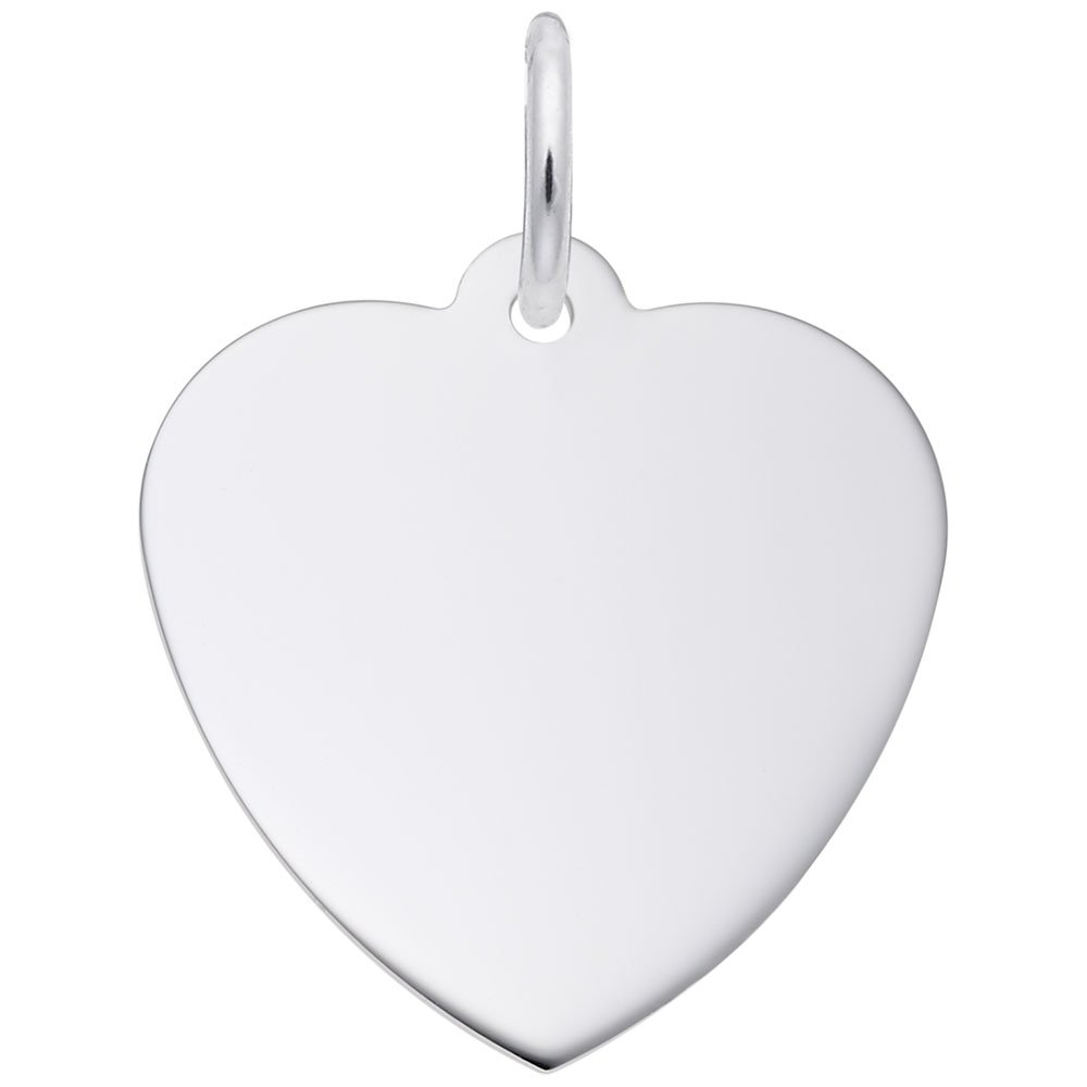Rembrandt Charms, Classic 3/4 in Heart.5mm Thick.925 Sterling Silver, Engravable