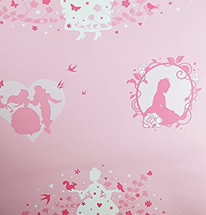 Fairy Wallpaper Girls Stars Floral Flowers Rose Metallic Shiny Silver Pink