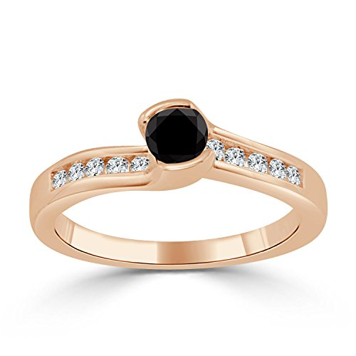 14k Gold Tension Black Diamond Engagement Ring (1/2 cttw,Black, I1-I2) Size 4-9