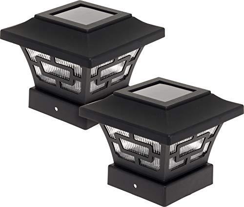 Westinghouse Hilltop 20 Lumens Solar Fence Post Cap Lights for 4x4 Wood Posts (Black, 2 Pack) (Decking Patio Lights)