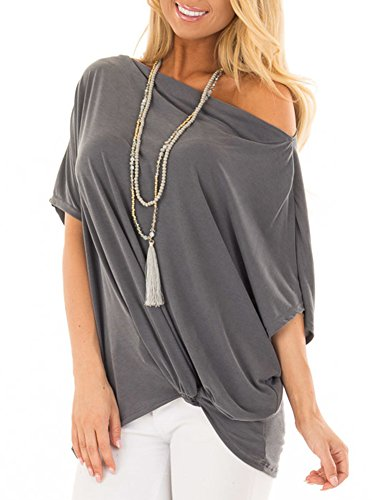 Womens Casual Twist Knot Front Loose Off The Shoulder Batwing Tunic Tops T Shirts Blouse Grey ()