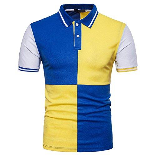 Misaky Fashion Men's Casual Slim Patchwork Short Sleeve T Shirt Top Golf Shirt Polo Shirts Georgia Striped Hoody