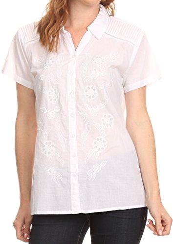 Sakkas KT5281 - Vinataey Long Floral Embroidered Short Sleeve Collar Button Down Shirt Top - White - XL