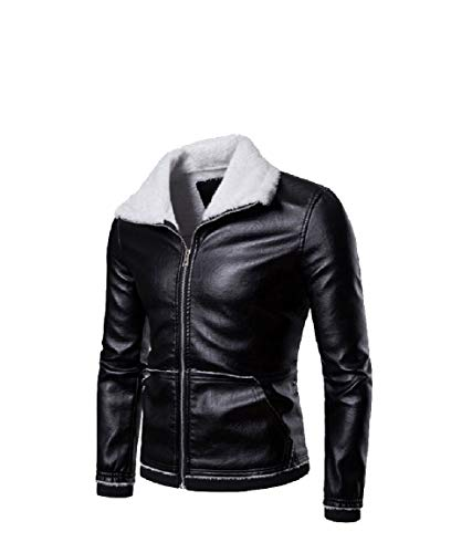 Down Velvet PU Leisure Jackets Plus Collar Solid Leather Mens Thicken Mogogo Black Turn 0qaEZEw1