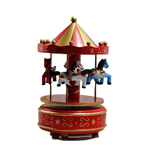 Dark Red Wooden Horses Birthday Christmas Gift Carousel Music Box