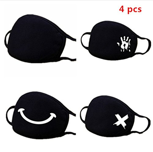 Muffle Mask Anti-Dust Anime Mouth Mask Cute Kaomoji Face Emoticon Earloop Cotton Surgical Mask for Kids Men and Women (Black 4 A)