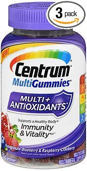 Centrum MultiGummies Multi + Antioxidants Pomegranate-Blueberry & Raspberry-Cranberry - 90 ct, Pack of ()