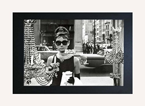 Framed Audrey Hepburn with Sunglasses in window. Breakfast At Tiffanys Movie - Audrey Sunglasses Tiffany Hepburn