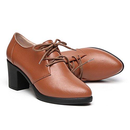DONNA scarpe cingitallone con scura colore irregolare scuro l'INGHILTERRA scarpe singolo femmina SCARPE 39 college marrone di bocca L'alto cinghia donna EOqYYw