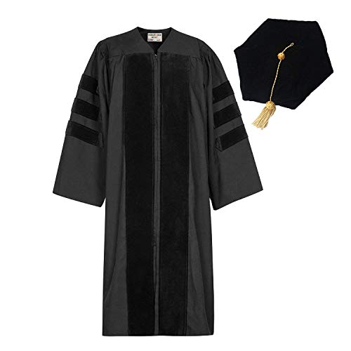 GraduationMall Classic Doctoral Graduation Gown Tam Set 48(5'3
