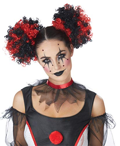 Jester Costumes For Kids - California Costumes Women's Clown Puffs, RED/Black,