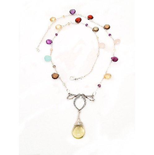 Aqua Quartz Briolette Necklace - Semi-Precious Gemstones Sterling Silver Lariat Elegant Necklace