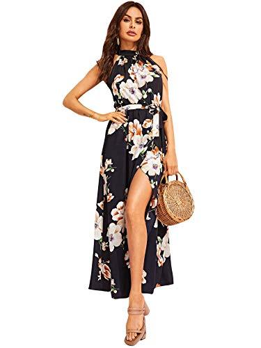 Floerns Women's Floral Print Wrap Split Front Halter Neck Maxi Dress Navy S