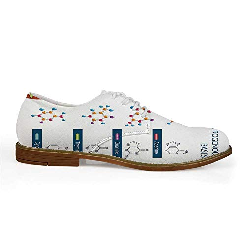 Educational Stylish Leather Shoes,DNA Bases Chemistry Biochemistry Biotechnology Science Spiral Symbol Genetic for Men,US 11