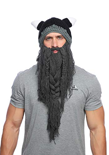 Xinqiao Mens Viking Barbarian Beard Beanie Funny Pillager Looter Horned Hats (Dark Grey)]()