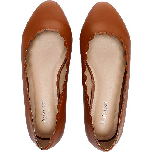 Women's Wide Width Flat Shoes - Cozy Wavy Topline Pointy Toe Slip On Ballet Flat.(Brown 181009,9W) ()