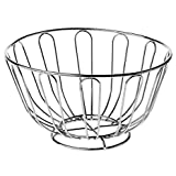 Beautiful Decorative Chrome Wire Fruit Basket Hammock Bowl Stand with Wooden Base