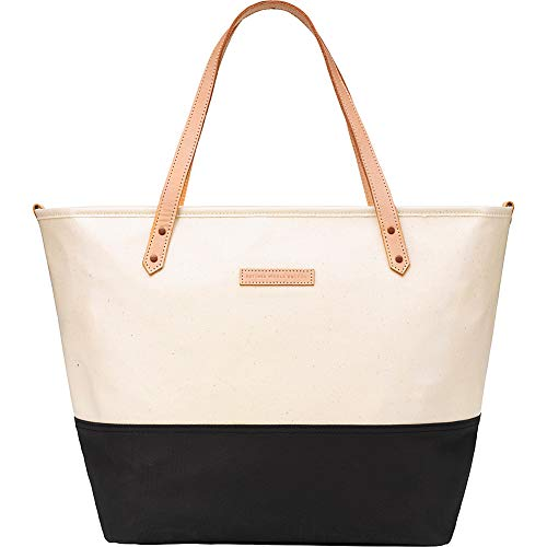 petunia pickle bottom Women's Glazed Color Block Downtown Tote Birch/Black One Size