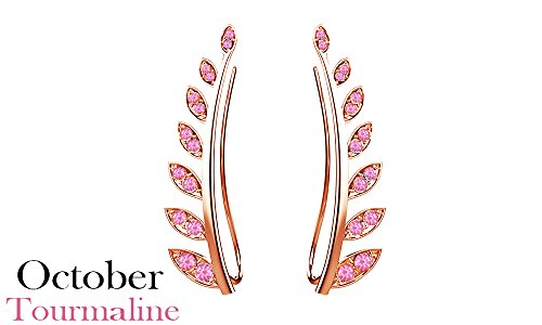 Simulated Light Pink Tourmaline Ear Crawler Cuff Earrings 14k Rose Gold Over Sterling Silver Climber Studs Olive Leaf -