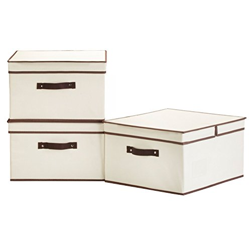 40 L,Canvas Storage Box with Lid By StorageWorks, Foldable Closet Organizer, Natural, Jumbo, 3-Pack