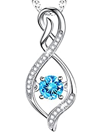 Birthday Gift for Her Infinity Pendant Birthstone Necklace Aquamarine Swarovski Sterling Silver Jewelry