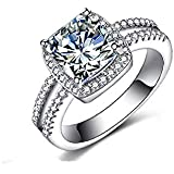 HUAMING Fashion Silver Plated Diamond White Gemstone Silver Jewelry for Women Noble Luxury Ring Valentine's Day Present (A, 9)