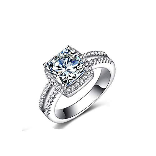 (Haluoo Women's Ring, 925 Sterling Silver Plated Simulated Diamond Engagement Ring Cushion Cubic Zirconia Promise Halo Solitaire Promise Wedding Bands for Lady Girls (8, Silver))