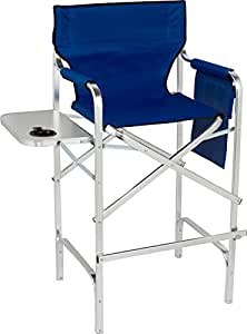 trademark innovations 45 aluminum frame tall metal director 39 s chair with side table. Black Bedroom Furniture Sets. Home Design Ideas