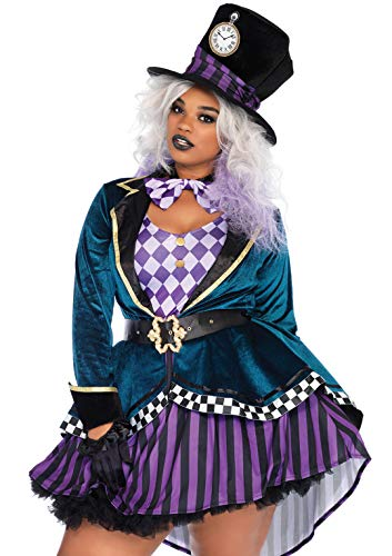 Leg Avenue Women's Plus Size Mad Hatter Costume, Multi, 1X / 2X