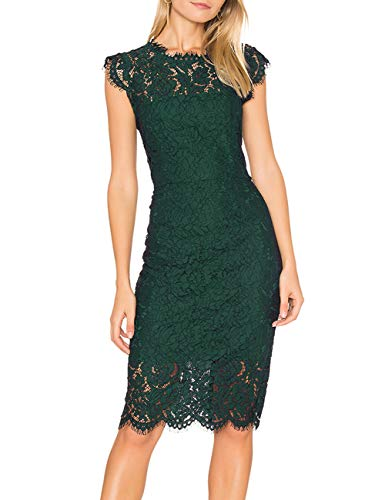 MEROKEETY Women's Sleeveless Lace Floral Elegant Cocktail Dress Crew Neck Knee Length for Party Dark Green