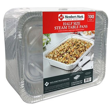- Member's Mark Aluminum Steam Table Pans, Half Size (100 ct.)