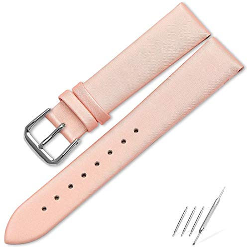- Luxury Ladies Genuine Leather Pink Watch Band for Women 16mm Classic Calfskin Flat Pink Leather Watch Straps with Silver Watch Buckle
