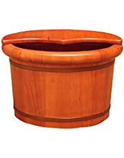 Lavabo De Pedicura (26 Cm) Roble De Madera Maciza Natural con Tapa Pie Bañera Baño De Pies Cuerpo De Pies Lavado De Pies Cuidado con Vapor Cuidado De Pies Masaje Tubo De Fumigación