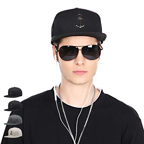 - CACUSS Men's 100% Cotton Fashion Snapback Hat Adjustable Hip Hop Hat Comfy Flat Bill Brim Baseball Cap Classic Trucker Cap