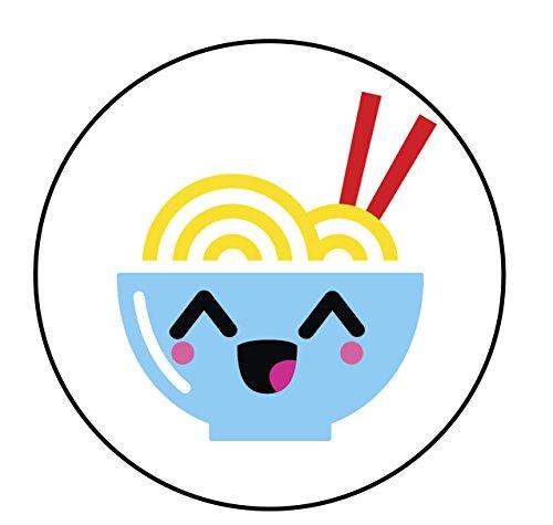 "Price comparison product image Happy Japanese Food Cartoon Emoji Vinyl Decal Sticker (4"" Wide,  Ramen Noodle Bowl)"