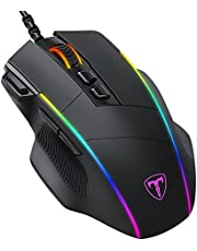 Gihokod Ergonomic Wired Gaming Mouse, 8 Programmable Buttons , 5 Levels Adjustable DPI up to 8000, Wired Computer Gaming Mice with 7 RGB Backlight Modes for PC, Laptop, MacBook