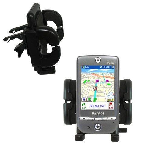Innovative Vent Cradle Vehicle Mount designed for the Pharos GPS 525 - Adjustable Vent Clip Holder for Most Car / Auto Vent Systems (Pharos Gps Systems)