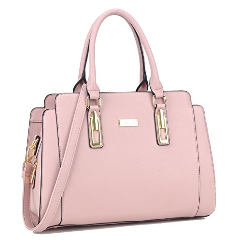 Dasein Women's Fashion Designer Satchel Handbags Purse Shoulder Bag Work Bag With Removable Shoulder Strap (Rose)