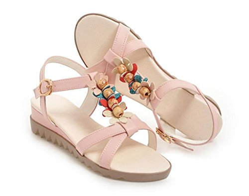 Pink léger Perlées Sandales élégant Shopping Bohème 38 34 Quotidien Confortable xie Sandales Femmes 41 2cm pour Fvnw6qC