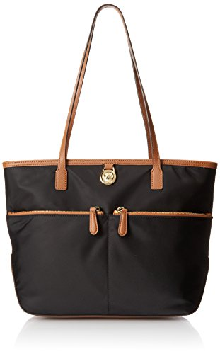 Michael Kors Kempton Medium Pocket Nylon Tote Handbag Black (Michael Tote Bags)