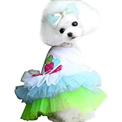 Small Dog Girl Dress,Wakeu Lace Tutu Vest Apparel Clothes For Pet Puppy (XS, Green)