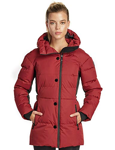Length Parka Quilted - Noize Juliette Women's Winter Jacket, Mid Length Quilted Parka, Ruby Combo