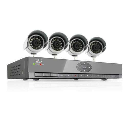 SVAT CV502-4CH-001 4 Channel Smart Phone Compatible H.264 DVR Security System with Coaching iMenu and 4 Indoor/Outdoor Night Vision Surveillance Cameras