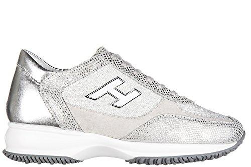 Hogan chaussures baskets sneakers femme en daim interactive h flock argent