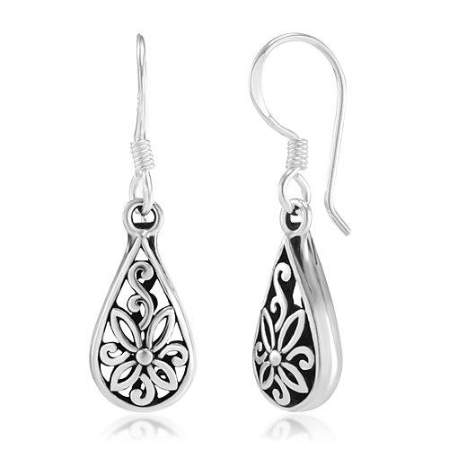 Filagree Design - 925 Oxidized Sterling Silver Flora Design Open Filigree Teardrop Dangle Hook Earrings