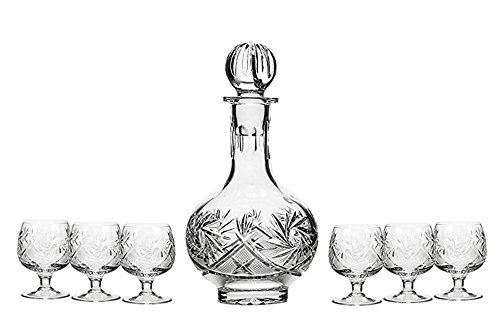 GIFTS PLAZA Set of 7 16-Oz Hand Made Vintage Cut Crystal Liquor Decanter Set with 6 Shot Glasses, Russian Crystal Vodka Carafe, Old-fashioned Glassware